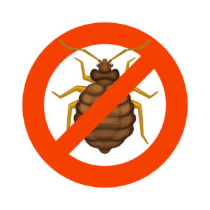 Home Bedbug Red Sign on White Background. Vector illustration